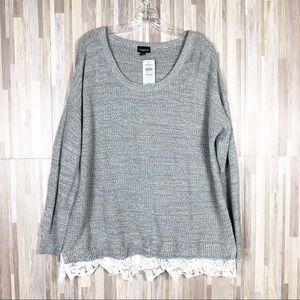 Torrid | 2 Grey Knitted White Lace Plus Size Top